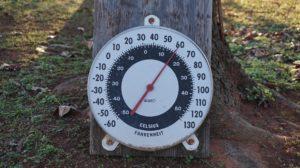 De indicatie van temperatuur